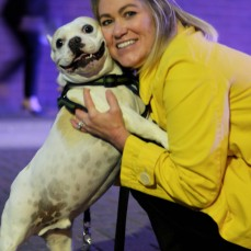 Overeager bulldog, Xander, also known as Bubba, smiles with his owner, Julie Benboom.