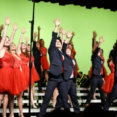 "Liberty High's show choir, Liberty Storm, poses at the end of their performance of ""Where the Streets Have No Name"" by U2 on Wednesday, Jan. 9."