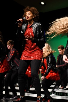 """Ahjianna Garcia Walker solos on """"I'll Be There"""" by Chic with GTC at Liberty High on Wednesday, Jan. 9."""