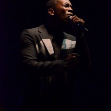 "Leslie Odom Jr. passionately sings a number from his new album, ""Joey Joey Joey"" to an outdoor crowd at Hancher Auditorium on Sunday, Oct. 1."