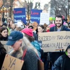 West graduate and Iowa Senate candidate Zach Wahls marched along with the hundreds of other protestors at the Women's March in Iowa City on Jan. 20.