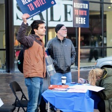 Voter registration booths were found in various places on the marching route in downtown Iowa City in order to encourage marchers to use their voices through voting.